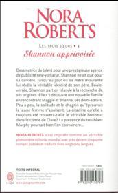 Les trois soeurs t.3 ; shannon apprivoisée - 4ème de couverture - Format classique
