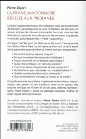 La franc-maçonnerie révélée aux profanes - 4ème de couverture - Format classique