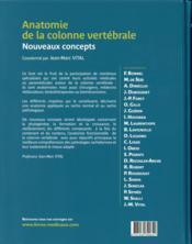 Anatomie de la colonne vertébrale ; nouveaux concepts - 4ème de couverture - Format classique
