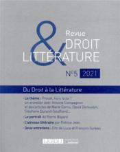 Revue droit & littérature N.5 ; du droit à la littérature - Couverture - Format classique