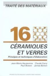 Ceramiques et verres-traite des materiaux vol 16 - Intérieur - Format classique