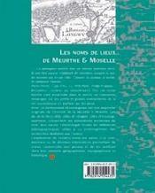 Les noms de lieux de meurthe-et-moselle - 4ème de couverture - Format classique