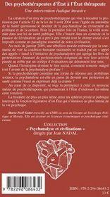 Des psychothérapeutes d'Etat à l'Etat thérapeute ; une intervention étatique invasive - 4ème de couverture - Format classique