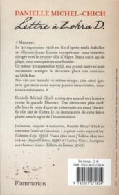 Lettre à Zohra D. - 4ème de couverture - Format classique