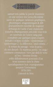 La Parole Inanimee - Couverture - Format classique