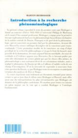 Introduction à la recherche phénoménologique - 4ème de couverture - Format classique