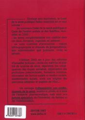 Code De La Sante Publique De L'Action Sociale Et Des Familles ; 16e Edition - 4ème de couverture - Format classique