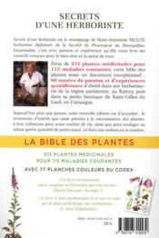 Secrets d'une herboriste ; la bible des plantes - 4ème de couverture - Format classique