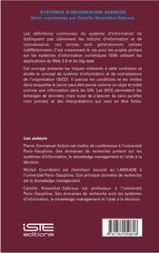 Système d'information et de connaissance - 4ème de couverture - Format classique