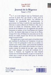 Journal de la Régence t.1 ; 1715, le petit roi en son lit de justice. - 4ème de couverture - Format classique