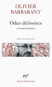 Odes dérisoires et autres poèmes - Couverture - Format classique