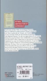 Keynes, abstraction et expérience sur la théorie générale - 4ème de couverture - Format classique