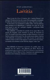 Laëtitia ou la fin des hommes - 4ème de couverture - Format classique
