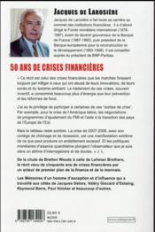 50 ans de crises financières - 4ème de couverture - Format classique