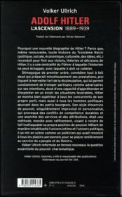 Adolf Hitler, une biographie t.1 ; l'ascension, 1889-1939 - 4ème de couverture - Format classique