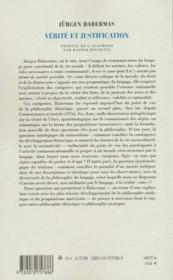 Verite Et Justification - 4ème de couverture - Format classique
