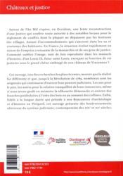 Châteaux et justice - 4ème de couverture - Format classique