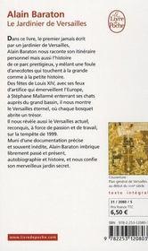 Le jardinier de Versailles - 4ème de couverture - Format classique