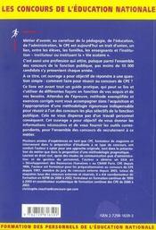 Conseiller Principal D'Education Tous Concours De L'Education Nationale Fonction Publique D'Etat - 4ème de couverture - Format classique