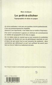 Le prêt-à-clicher ; typographie et mise en pages - 4ème de couverture - Format classique