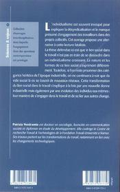 Le Travail Au Singulier ; Le Lien Social A L'Epreuve De L'Individualisation - 4ème de couverture - Format classique