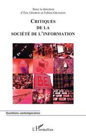 Critiques de la société de l'information - Couverture - Format classique