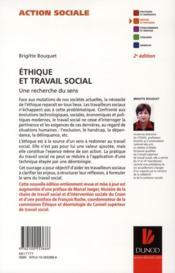 Éthique et travail social ; une recherche du sens (2e édition) - 4ème de couverture - Format classique