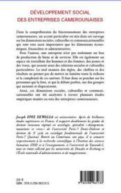 Développement social des entreprises camerounaises - 4ème de couverture - Format classique