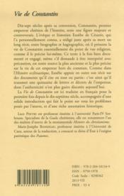 Vie de Constantin - 4ème de couverture - Format classique