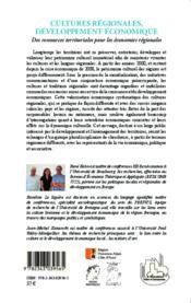 Cultures regionales, developpement economique - des ressources territoriales pour les economies regi - Couverture - Format classique