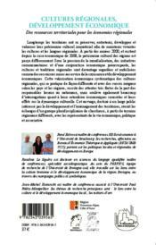 Cultures regionales, developpement economique - des ressources territoriales pour les economies regi - 4ème de couverture - Format classique