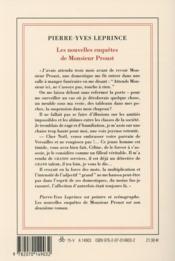 Les nouvelles enquêtes de Monsieur Proust - 4ème de couverture - Format classique