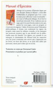 Manuel d'Epictète - 4ème de couverture - Format classique