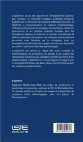 Autonomie et apprentissage universitaire ; aides et outils - 4ème de couverture - Format classique