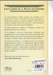 La franc-maçonnerie et les nombres - 4ème de couverture - Format classique