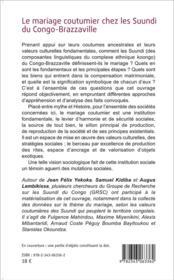 Le mariage coutumier chez les Suundi du Congo-Brazzaville - 4ème de couverture - Format classique