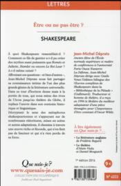 Shakespeare - 4ème de couverture - Format classique