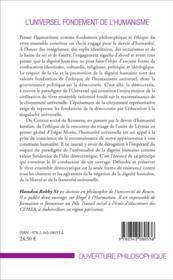 L'universel fondement de l'humanisme ; pour une éthique de la dignité humaine et de la singularite universelle - 4ème de couverture - Format classique