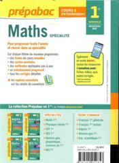 Prépabac ; mathématiques ; 1re - 4ème de couverture - Format classique
