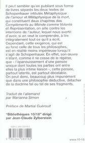 Metaphysique de l'amour, metaphysique de la mort - 4ème de couverture - Format classique