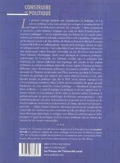 Construire le politique - 4ème de couverture - Format classique