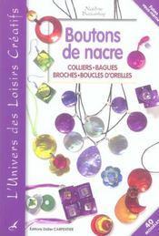 Boutons de nacre ; colliers, bagues, broches, boucles d'oreilles - Intérieur - Format classique