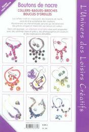 Boutons de nacre ; colliers, bagues, broches, boucles d'oreilles - 4ème de couverture - Format classique
