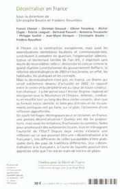 Decentraliser en france - 4ème de couverture - Format classique