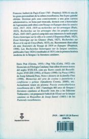 Recherches historiques sur la langue catalane - 4ème de couverture - Format classique
