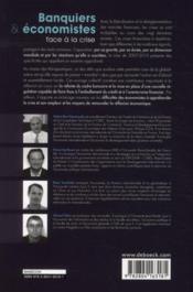 Banquiers et économistes ; face à la crise - 4ème de couverture - Format classique