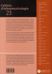 CAHIERS D'ETHNOMUSICOLOGIE T.23 ; émotions - 4ème de couverture - Format classique