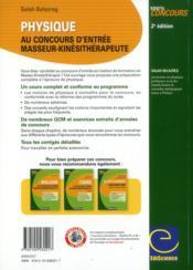 Physique ; au concours d'entrée masseur-kinésithérapeute ; cours, QCM, exercices et annales corrigés (2e édition) - 4ème de couverture - Format classique