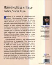 Herméneutique critique ; Bollack, Szondi, Celan - 4ème de couverture - Format classique