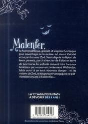 Malenfer T.1 ; la forêt des ténèbres - 4ème de couverture - Format classique